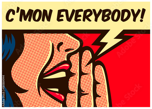 Pop Art Pop Art style comic book girl calling or yelling out loud with speech bubble vector illustration