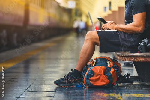 Photo Digital nomad with backpack