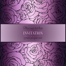 Romantic Background With Antique, Luxury Black, Metal Lilac Vintage Card, Victorian Banner, Rose Flower Wallpaper Ornaments, Invitation Card, Baroque Style Booklet With Text