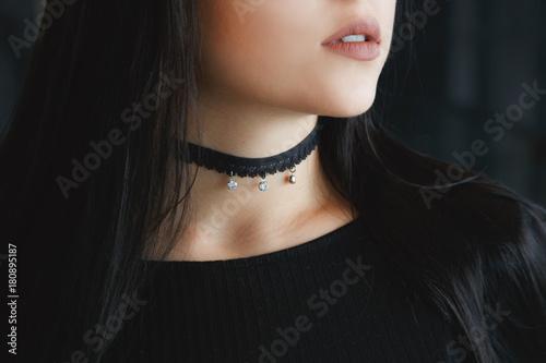 Fotomural Close up of stylish black choker on female neck