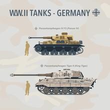 Military Tank Flat Vector Illustration Of German World War II. Vehicle In Profile
