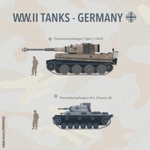 Fotografering Military tank flat vector illustration of German World War II