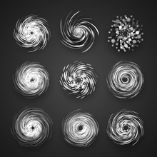 Realistic Hurricane Cyclone Vector Icon, Typhoon Spiral Storm Logo, Spin Vortex Illustration On Black Background With Shadow.