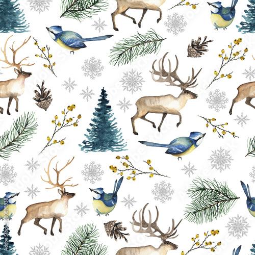 Stoffe zum Nähen Musterdesign Weihnachten mit Vögel, Rehe, Baum, Schneeflocken, verzweigt. Aquarell von Hand gezeichnet