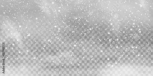 Falling Christmas Shining transparent beautiful, little snow isolated on transparent background Fototapet