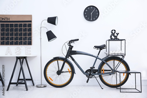 Tuinposter Art Studio Modern living room interior with stylish bicycle