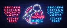 Live Musical Vector Neon Logo, Sign, Emblem, Symbol Poster With Microphone. Bright Banner Poster, Neon Bright Sign, Nightlife Club Advertising, Karaoke, Bar And Other Institutions With Music. Editing