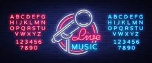 Live Musical Vector Neon Logo,...