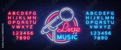 Fotografie, Tablou Live musical vector neon logo, sign, emblem, symbol poster with microphone