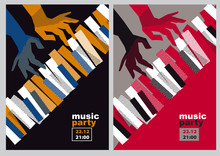 Hands And Piano Keys Vector Il...