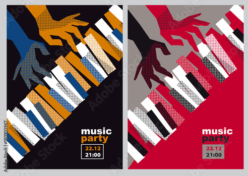 Fotografie, Obraz  hands and piano keys vector illustration