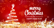 canvas print picture - sparkling gold and silver lights xmas tree Merry Christmas and Happy New Year greeting message on red background,snow flakes,bright lights decoration.Elegant holiday season social post digital card
