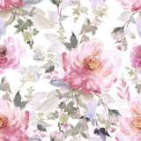 Seamless summer pattern with watercolor flowers handmade. - 180904958