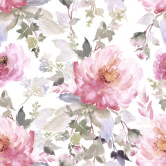 Naklejka Do sypialni Seamless summer pattern with watercolor flowers handmade.