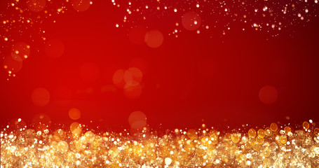 golden and silver xmas lights on red background for merry christmas or season greetings message,bright decoration.Elegant holiday season social post digital card.Copy type space for text or logo