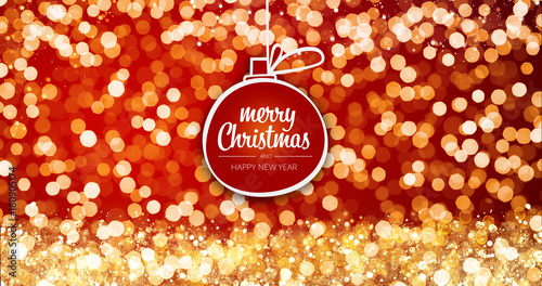 Sparkling gold and silver xmas lights with merry christmas and happy sparkling gold and silver xmas lights with merry christmas and happy new year greeting message ball m4hsunfo