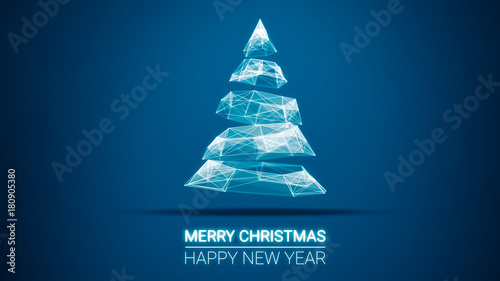 Modern future christmas tree and merry christmas and happy new year modern future christmas tree and merry christmas and happy new year greetings message on blue background m4hsunfo