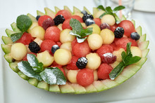 Basket Of Ripe Juicy Watermelon Balls