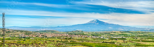 Canvas Prints Blue Panorama of Sicily with Mount Etna and Scordia town. Italy