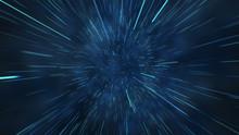 Abstract Flight In Space Hyper Jump 3d Illustration