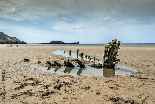 Fotografie, Tablou Wreck of the Helvetia, at Rossili, Gower, Wales, UK