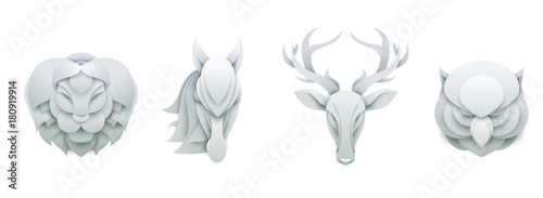 Photo Stands Owls cartoon Set of wild animals in trendy paper cut craft graphic style. Lion, horse, deer, owl. Modern design for advertising, branding greeting card, cover, poster, banner. Vector illustration.