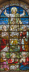 NaklejkaLONDON, GREAT BRITAIN - SEPTEMBER 18, 2017: The stained glass of Transfiguration in church St. Giles in the Fields from 19. cent.