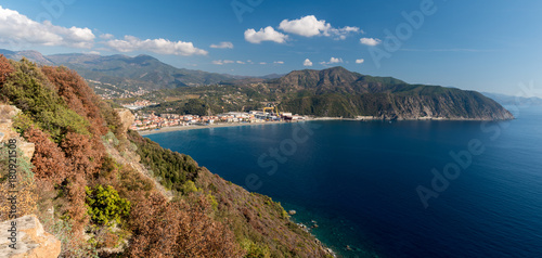 Panoramic view of the Riviera di Levante, in Liguria; the small town along the coastline is Riva Trigoso