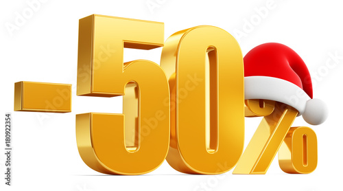Photographie  Christmas illustration of golden percent and red hat on white background