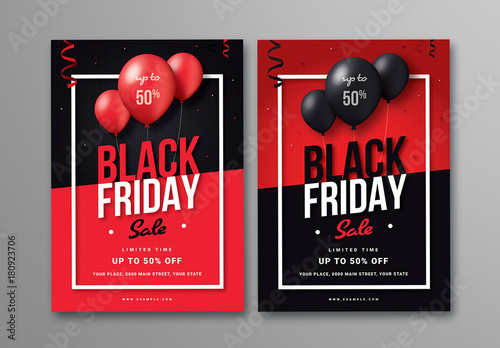 black friday sale flyer with balloons in two layouts buy this stock