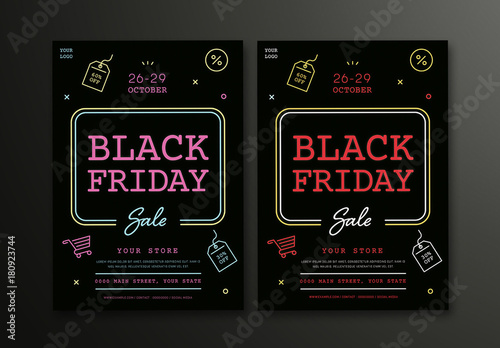 black friday sale flyer layouts with colorful neon style line art buy this stock template and. Black Bedroom Furniture Sets. Home Design Ideas