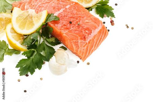 Printed kitchen splashbacks Fresh Salmon Steak.