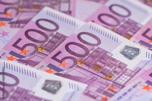 Foto op Aluminium Imagination Money background consisting of purple five hundred Euro bills spread across the screen