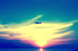 soft and blur focus airplane with colorful sky