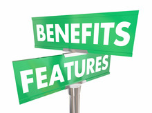 Features Benefits Road Sign Two Way Direction Product Advantage 3d Illustration