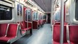 Shallow focus shot of riding an empty subway car late at night