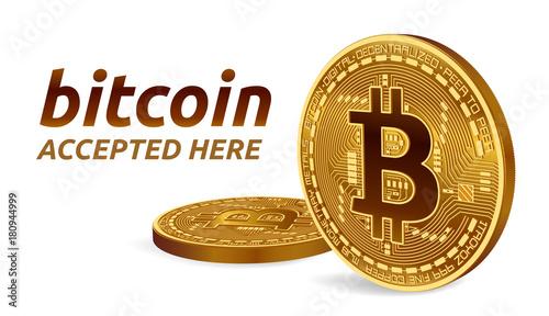 Fotografía  Bitcoin accepted sign emblem