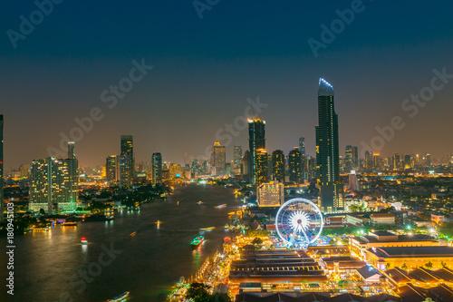 Cityscape Bangkok Eye At Dusk Many Building Panorama View The Top Of