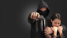 A Girl Being A Hostage Of A Theft Holding Handgun