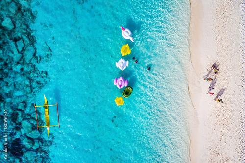Poster Lieu connus d Asie Aerial view of beach in Boracay Island, Western Visayas, Philippines.