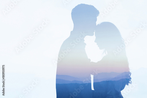 Obraz na plátně  double exposure of couple in love, affectionate man and woman, dating, silhouett
