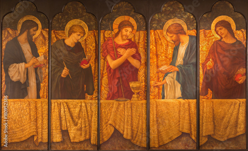 LONDON, GREAT BRITAIN - SEPTEMBER 15, 2017: The painting of Jesus with the symbols of the mass among the four Evangelist in parish room of church All Saints from 20 Canvas Print