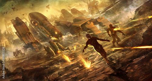 Fototapeta digital illustration of futuristic science fiction robot machine army killing te