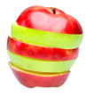 Red and green sliced apple. Isolated