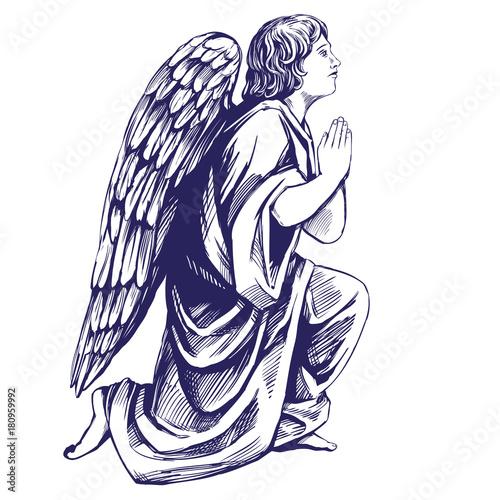 Photo angel prays on his knees religious symbol of Christianity hand drawn vector illu
