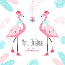 Christmas Card With Flamingo. Vector Illustration