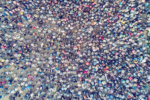 View from the height of the crowd of people on the asphalt - 180961970