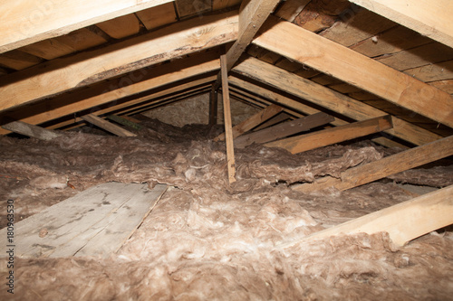 Fototapeta mineral wool in the attic of the house Foam plastic Insulation of a new home on