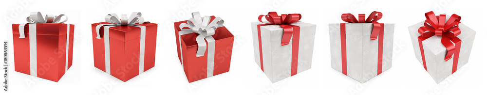 Fototapeta Red christmas gift isolated 3D rendering