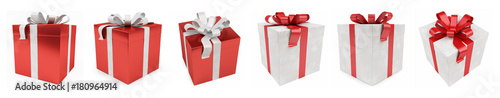 Fotografie, Obraz Red christmas gift isolated 3D rendering